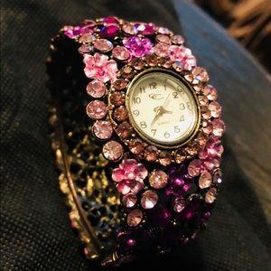 Jeweled Cuff Watch Bracelet